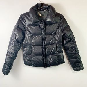 Vince shiny puffer black down feather snap jacket